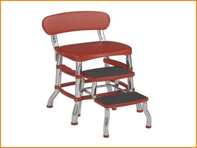 vintage kitchen retro chair bar step stool red photo - 6