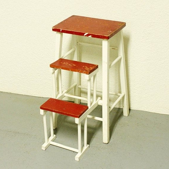 vintage kitchen retro chair bar step stool red photo - 7