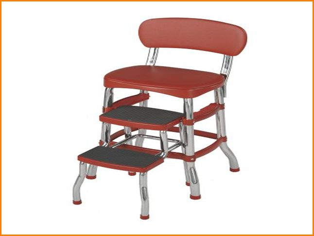 vintage kitchen retro chair bar step stool red photo - 9
