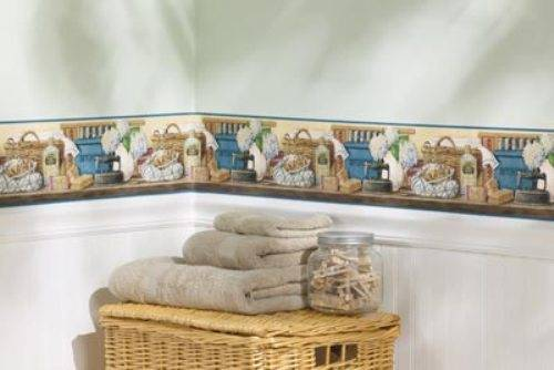 vintage laundry room wallpaper border photo - 1