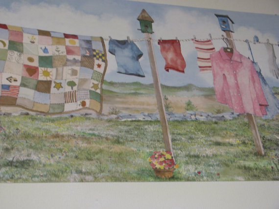 vintage laundry room wallpaper border photo - 2
