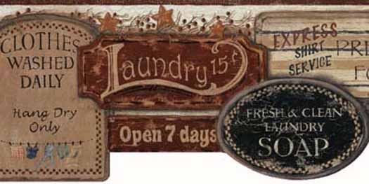vintage laundry room wallpaper border photo - 6