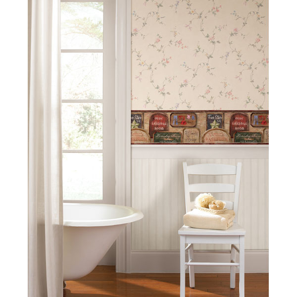 vintage laundry room wallpaper border photo - 7