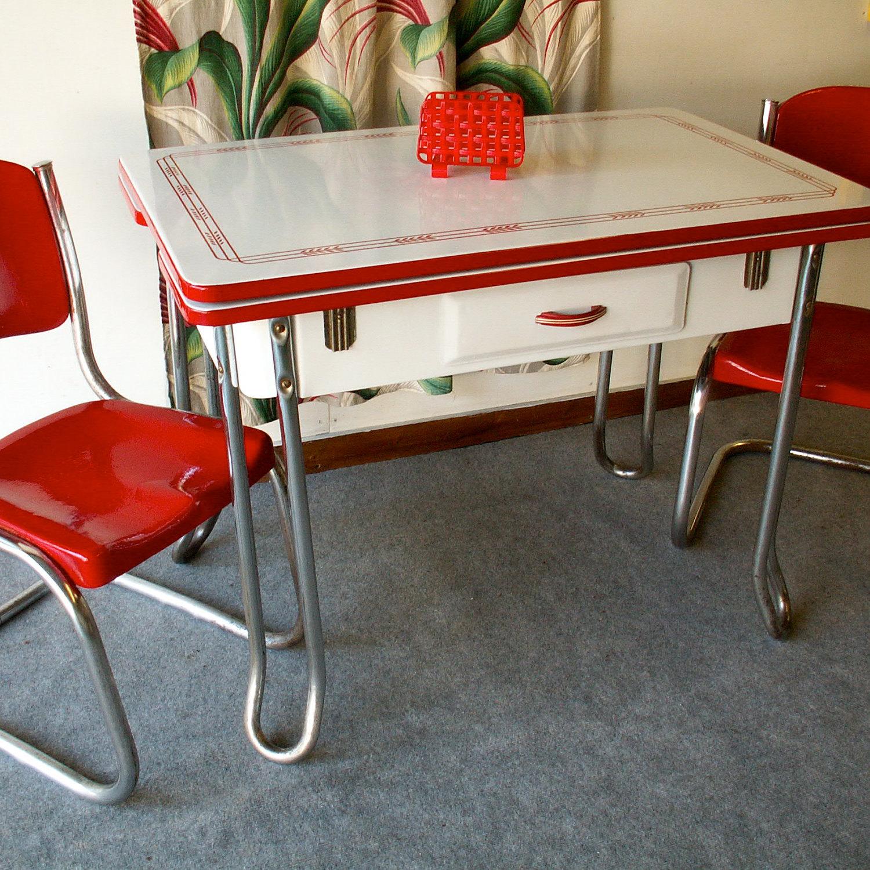 vintage porcelain kitchen tables photo - 1