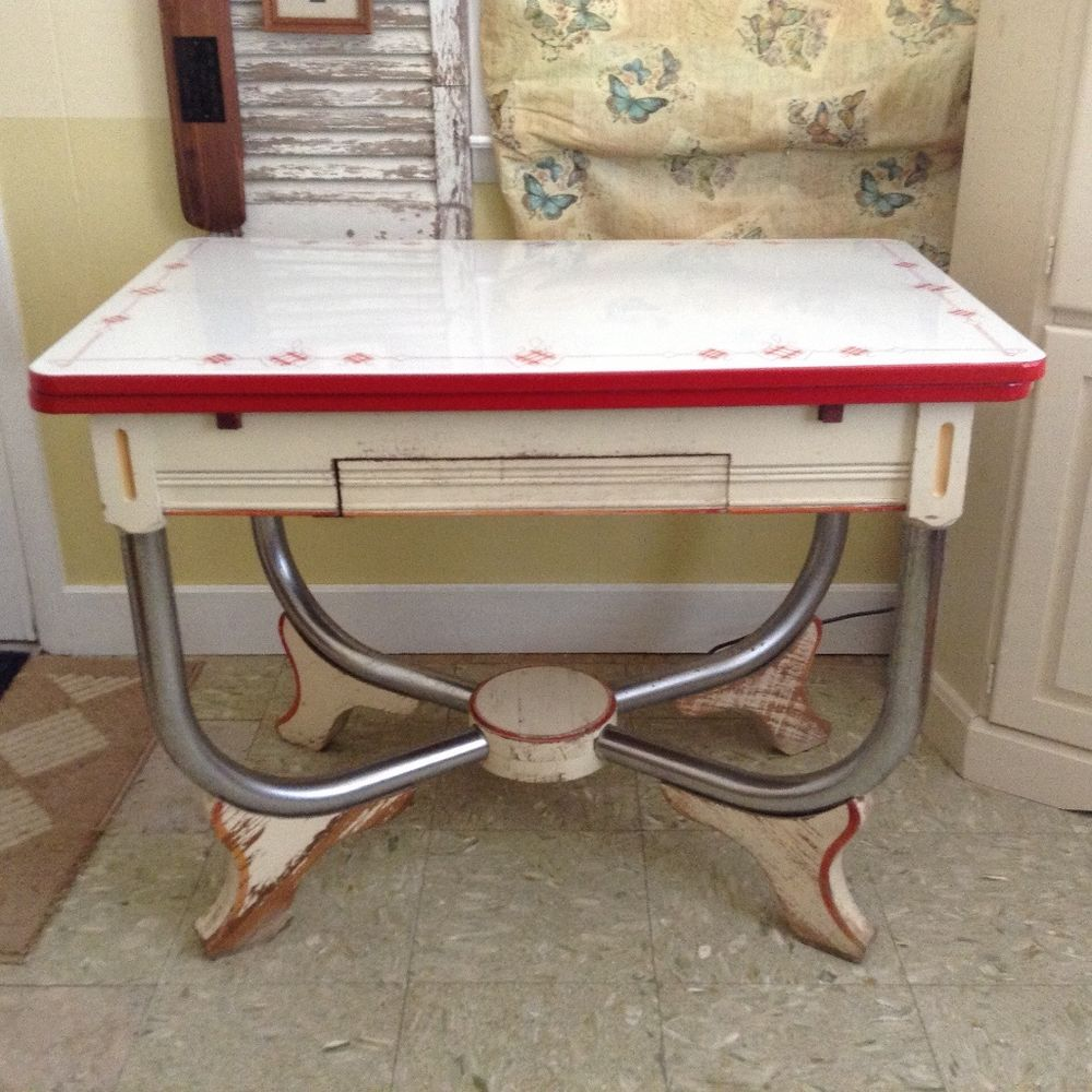 vintage porcelain kitchen tables photo - 3