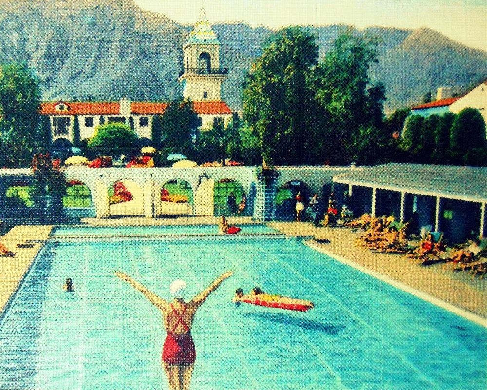Vintage Swimming Pool Art Hawk Haven