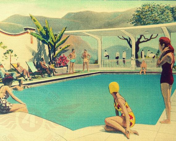 vintage swimming pool art photo - 3