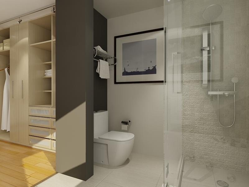 walk in closet design and bathroom photo - 1