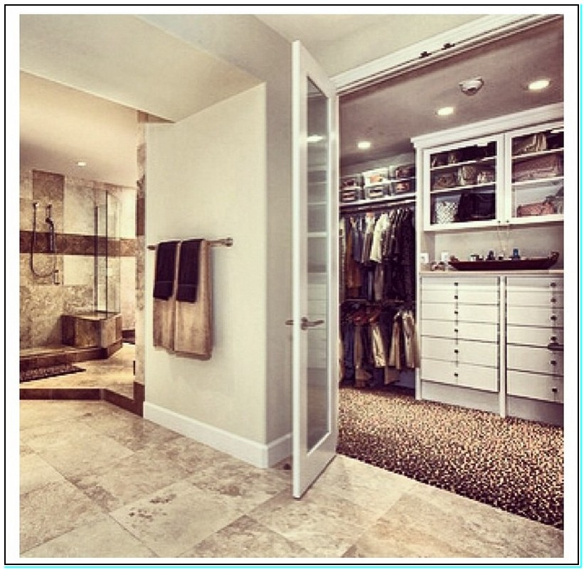 walk in closet design and bathroom photo - 3