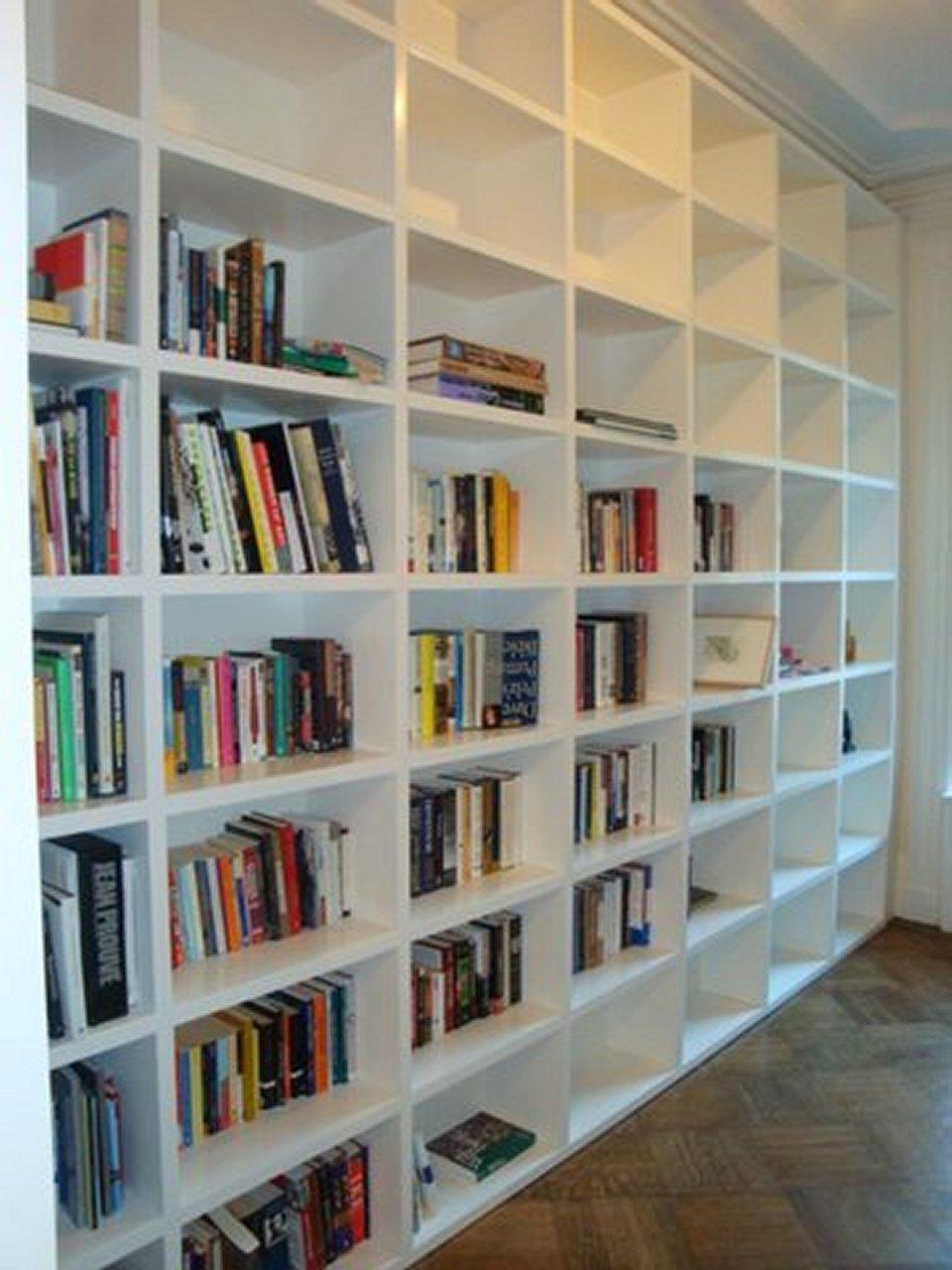 wall divider bookshelf photo - 2