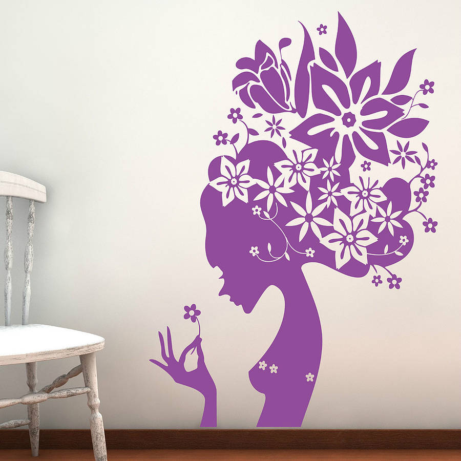 wall flower stickers for girls photo - 1
