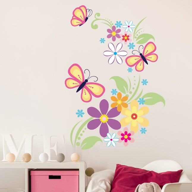 wall flower stickers for girls photo - 2
