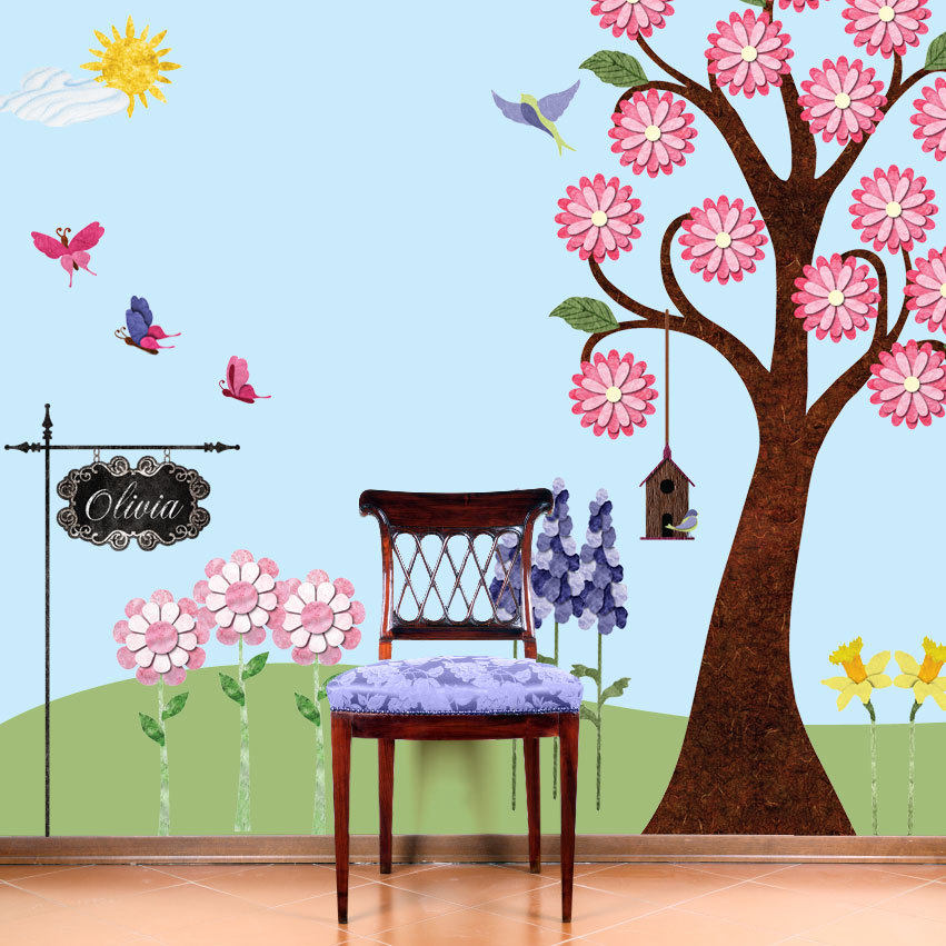 wall flower stickers for girls photo - 4