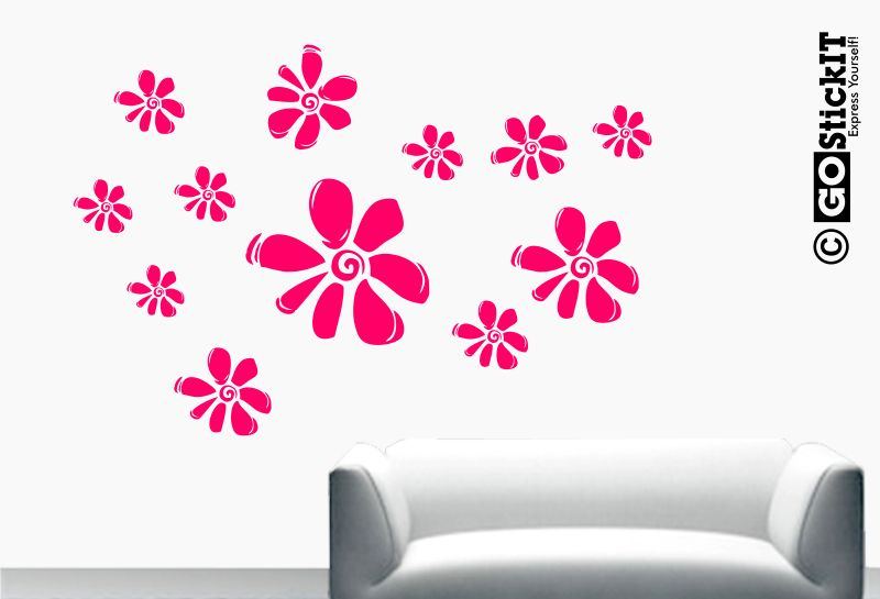 wall flower stickers for girls photo - 5