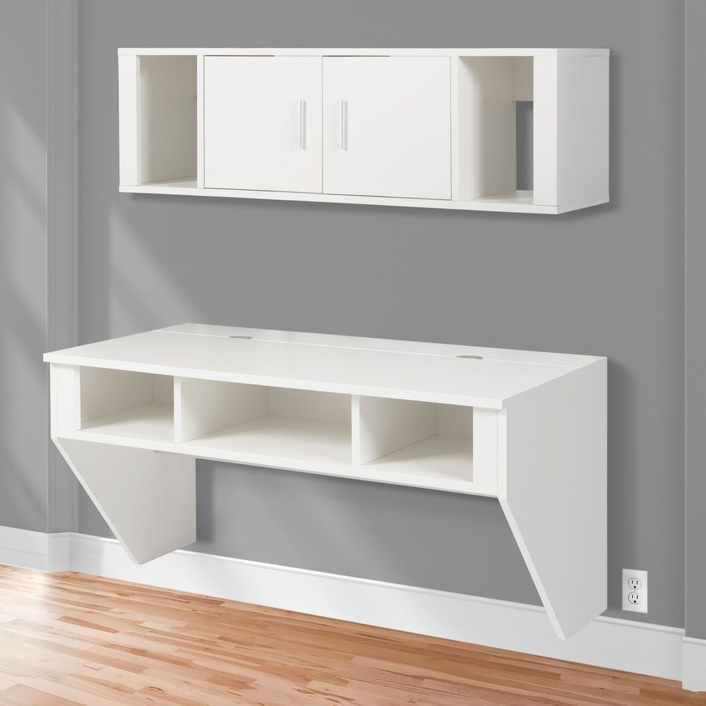wall mounted desk hutch photo - 10