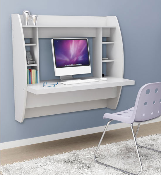 wall mounted desk white photo - 3