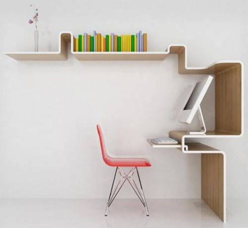 wall mounted desk with shelves photo - 1