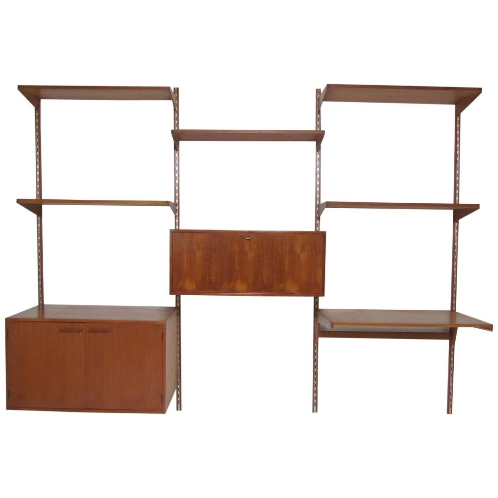 wall mounted desk with shelves photo - 10