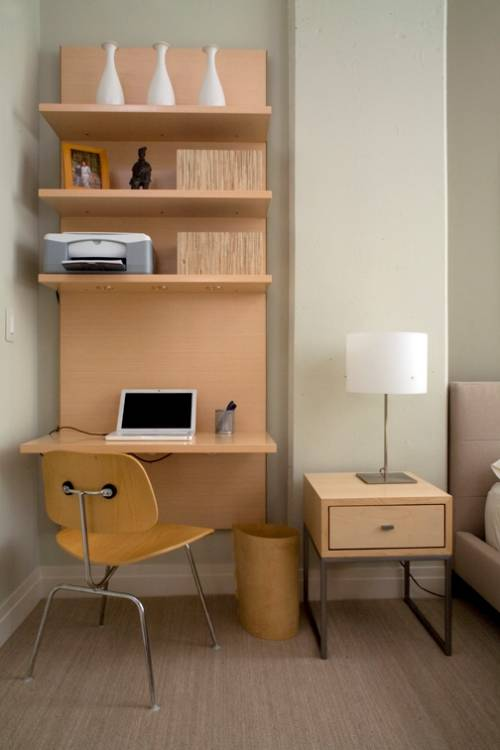 wall mounted desk with shelves photo - 3