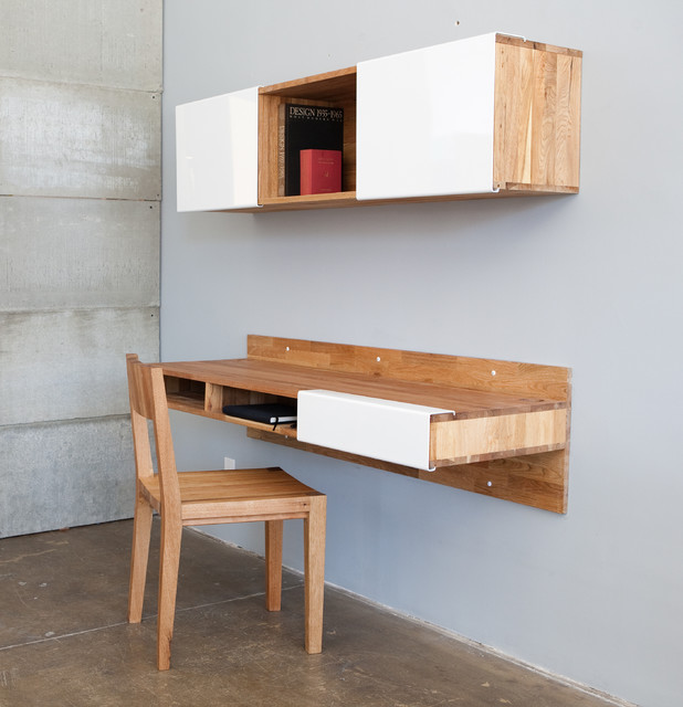 wall mounted desk with shelves photo - 7