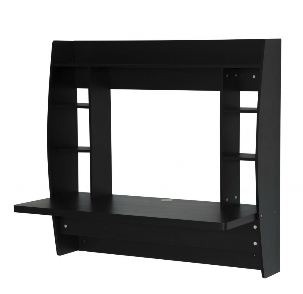 wall mounted desk with shelves photo - 9
