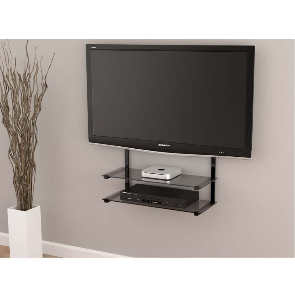 Wall mounted shelves for tv hawk haven - Tv wall mount with shelf ...