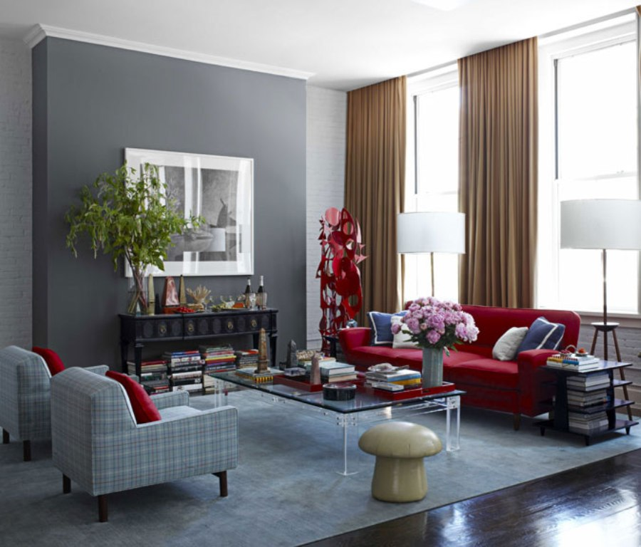 Wall paint color for red couch | Hawk Haven