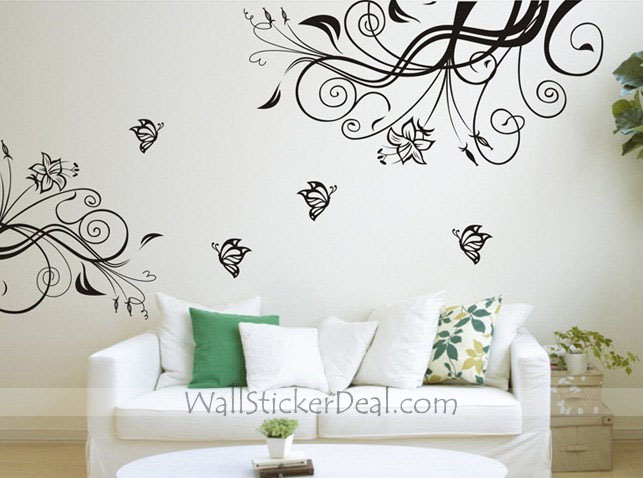wall stickers flowers butterflies photo - 9