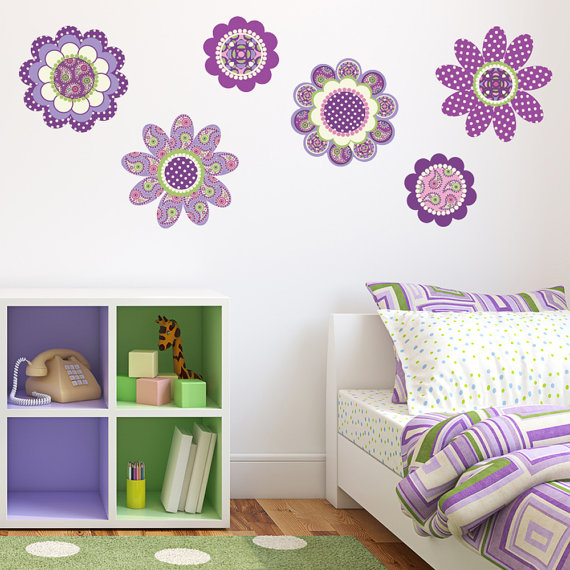 wall stickers purple flowers photo - 1