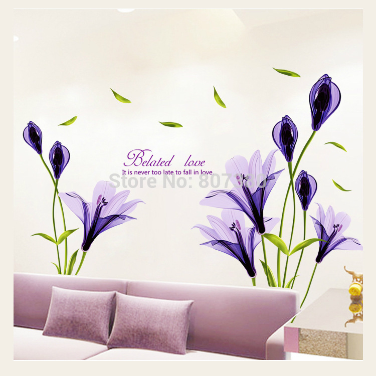 wall stickers purple flowers photo - 5