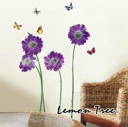 wall stickers purple flowers photo - 7