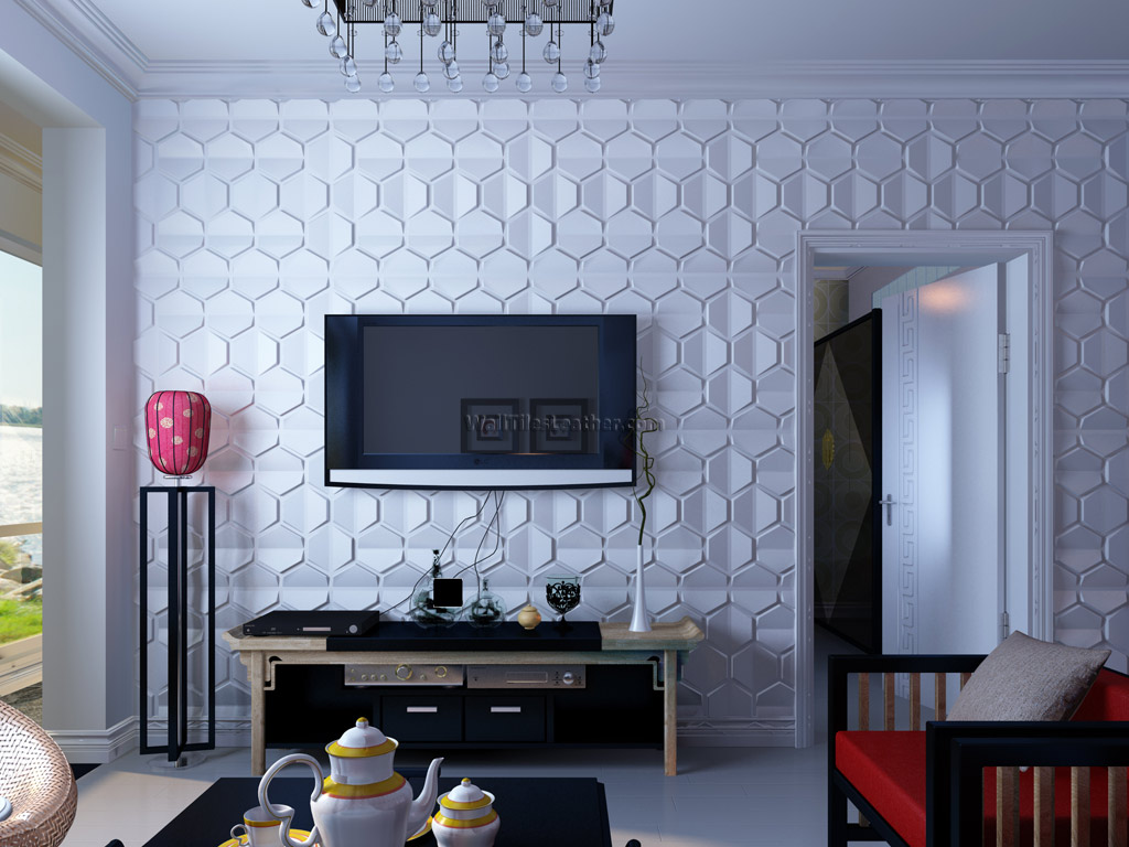 wall tiles designs living room photo - 3