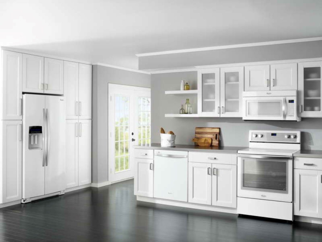 white kitchen cabinets floor color photo - 6