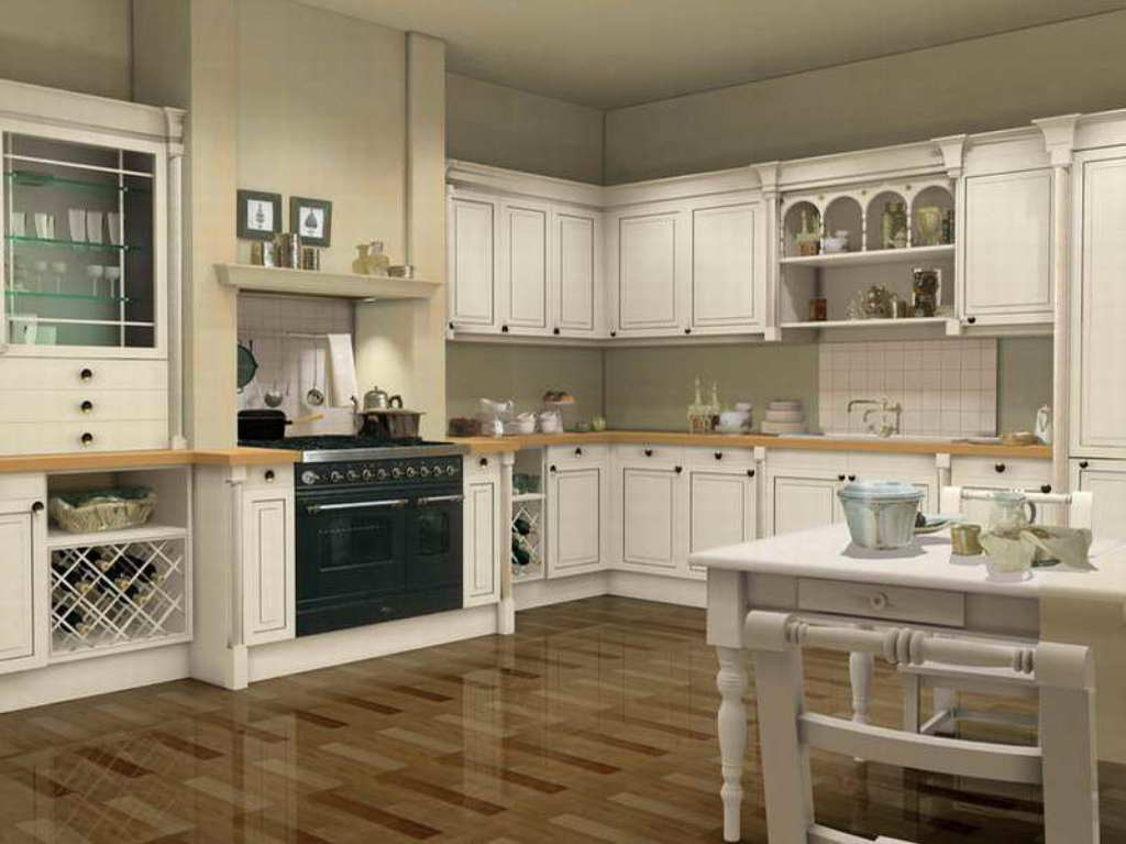 white kitchen cabinets floor color photo - 9