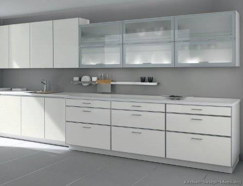 white kitchen cabinets frosted glass photo - 1