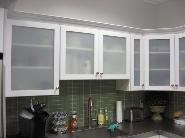 white kitchen cabinets frosted glass photo - 2