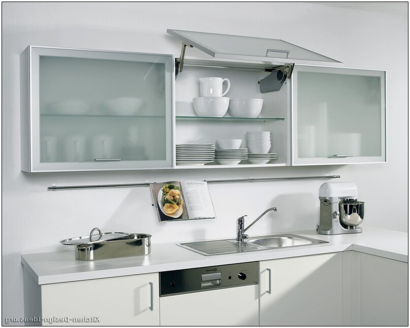 white kitchen cabinets frosted glass photo - 7