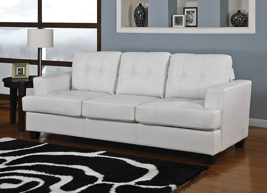 white leather sectional sofa bed photo - 1