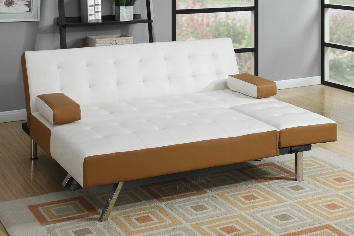 white leather sectional sofa bed photo - 3