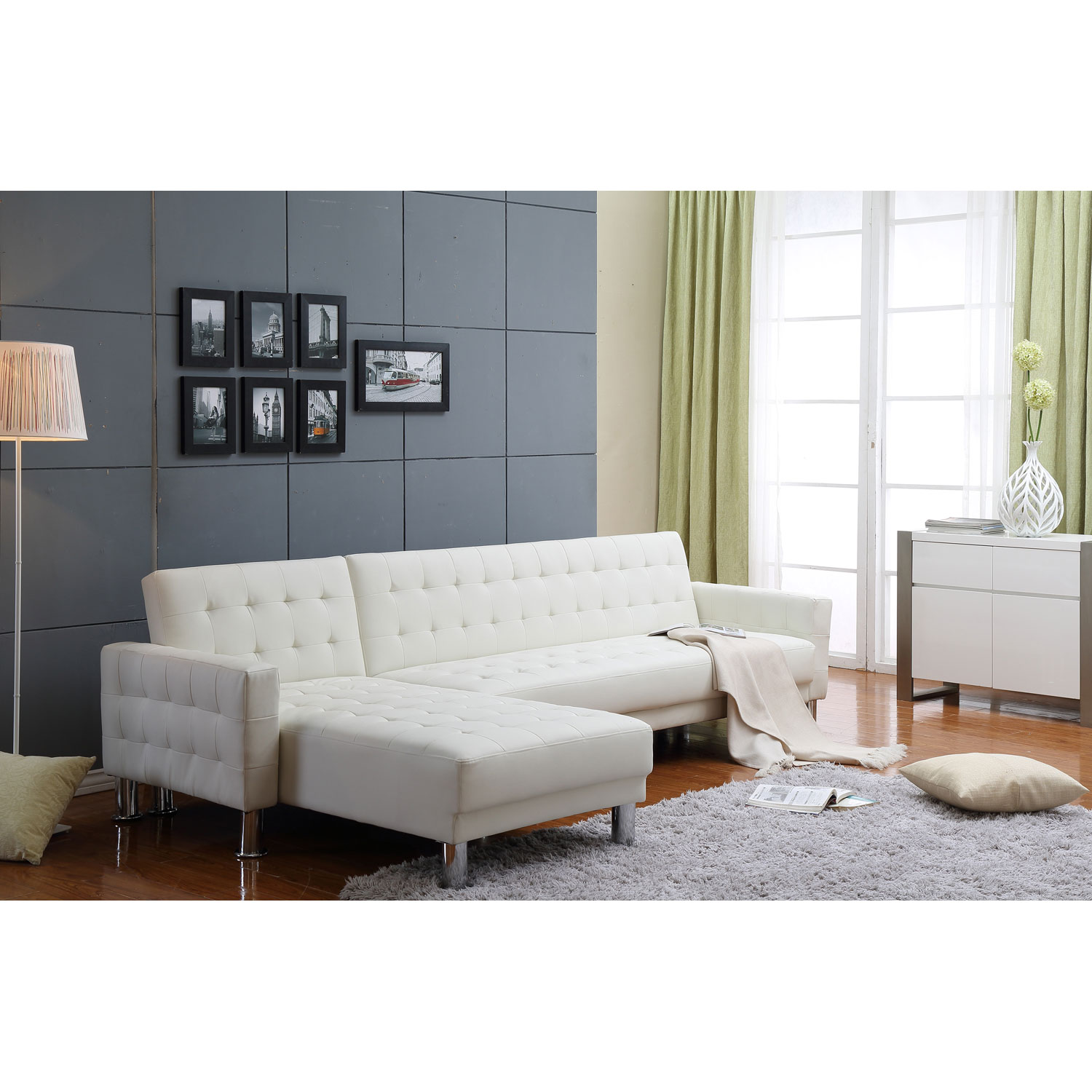 white leather sectional sofa bed photo - 5
