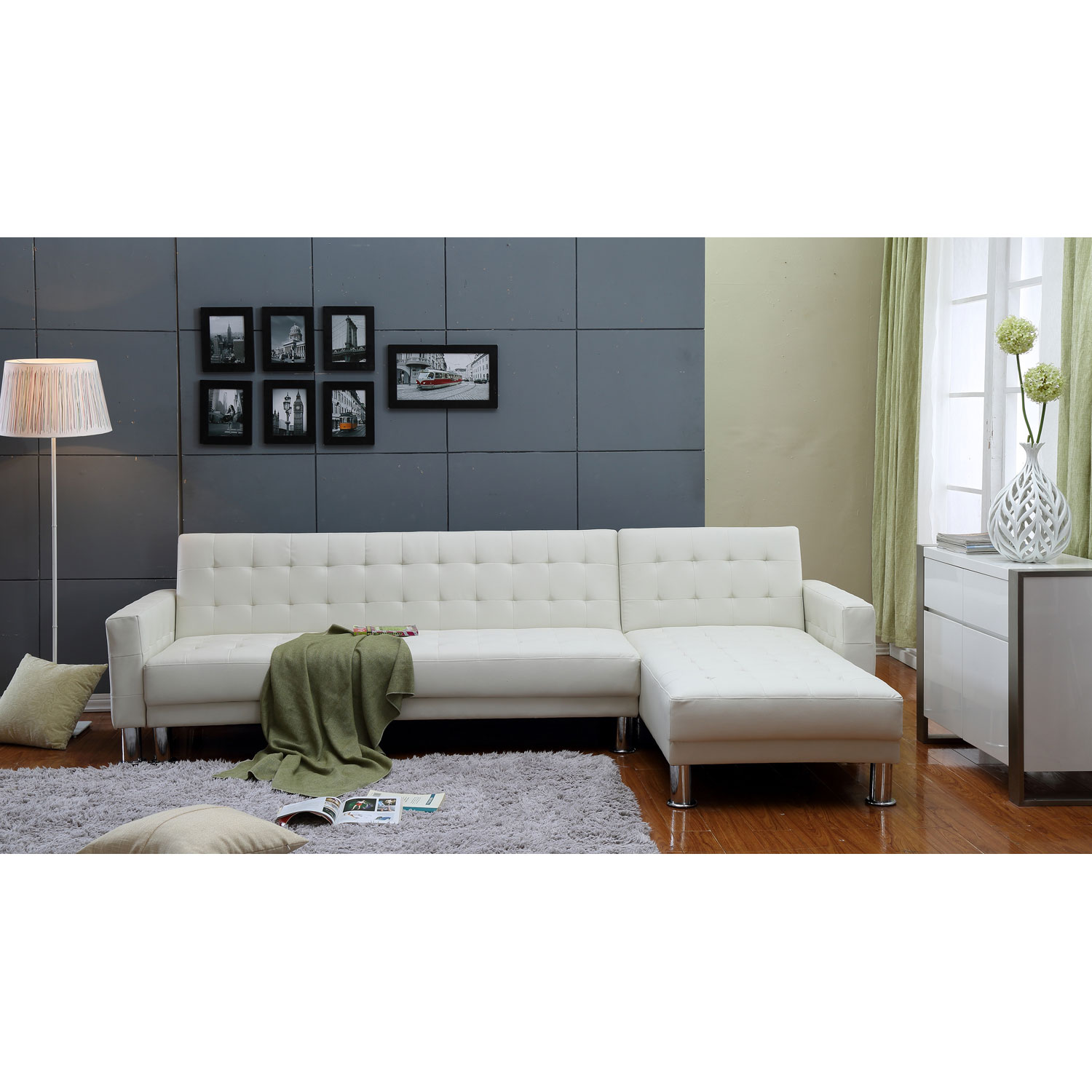 white leather sectional sofa bed photo - 6