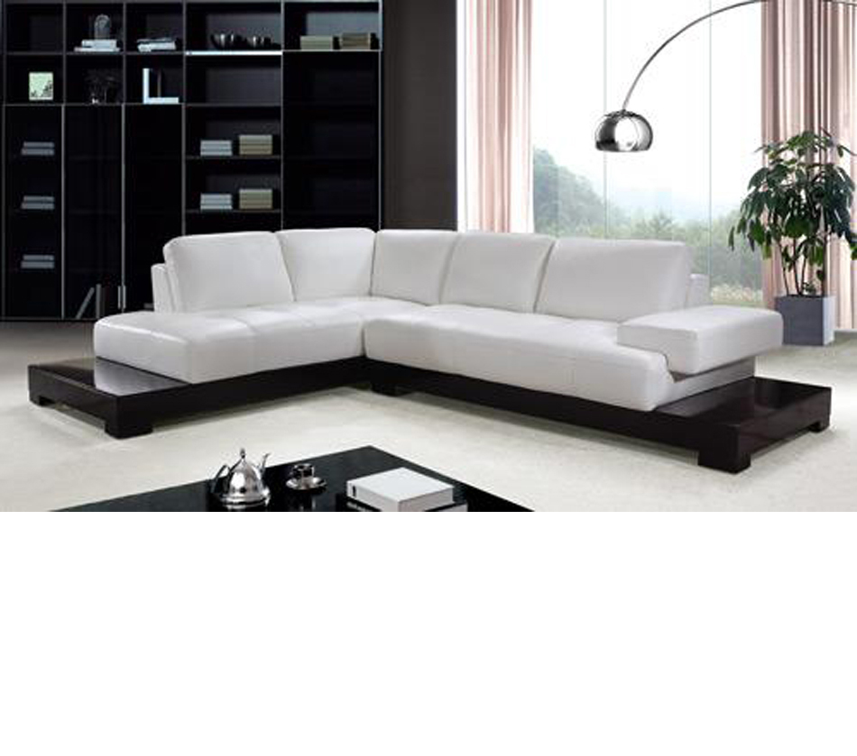 white modern sectional leather sofa photo - 1
