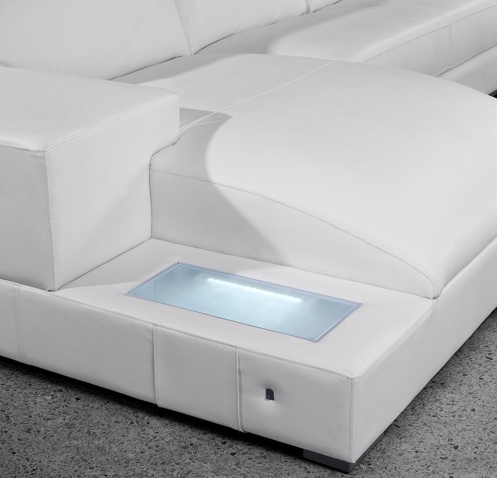 white modern sectional leather sofa photo - 10