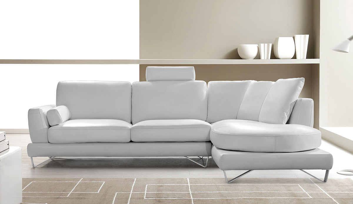 white modern sectional leather sofa photo - 5