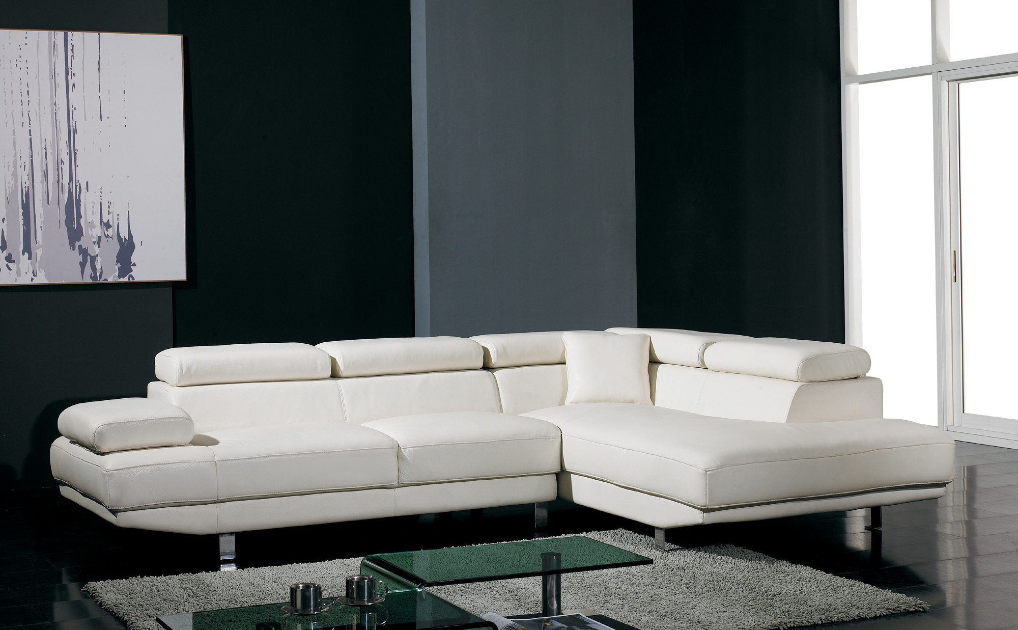white modern sectional leather sofa photo - 6
