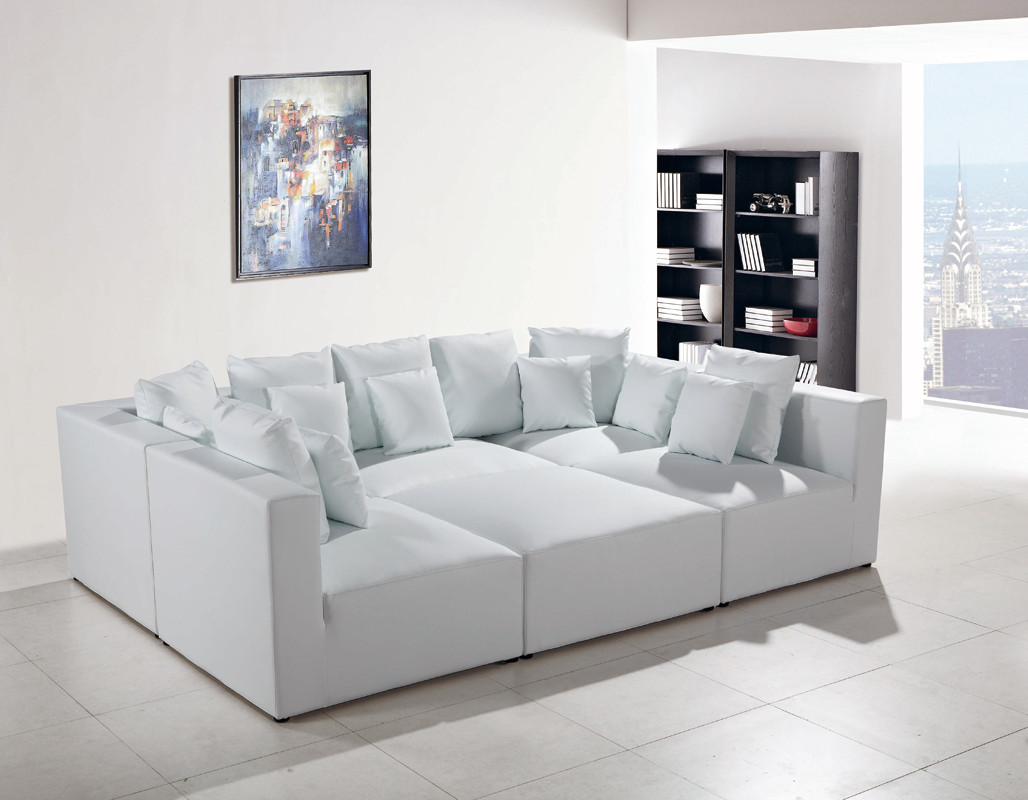 white modern sectional leather sofa photo - 7