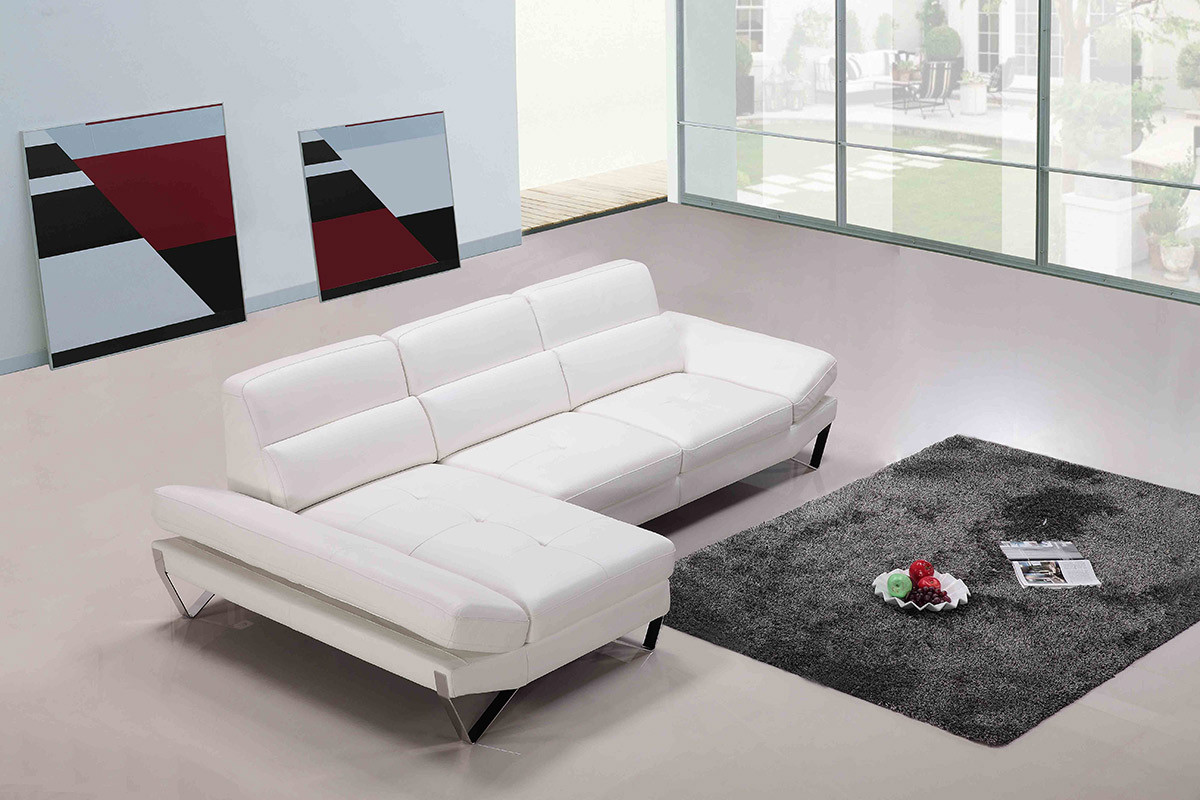 white modern sectional leather sofa photo - 8