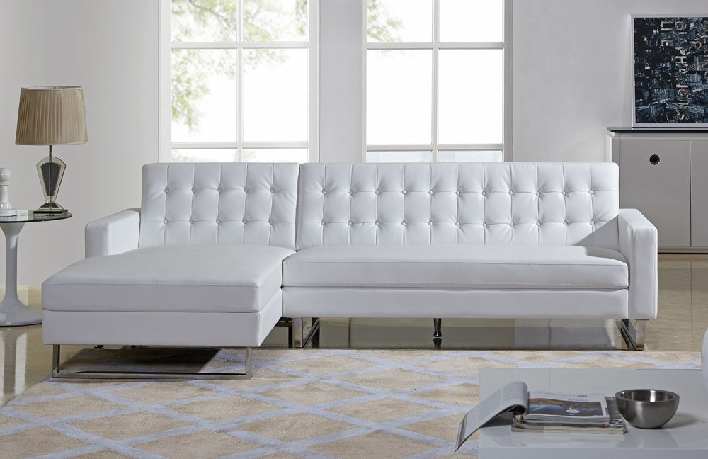 white modern sectional leather sofa photo - 9