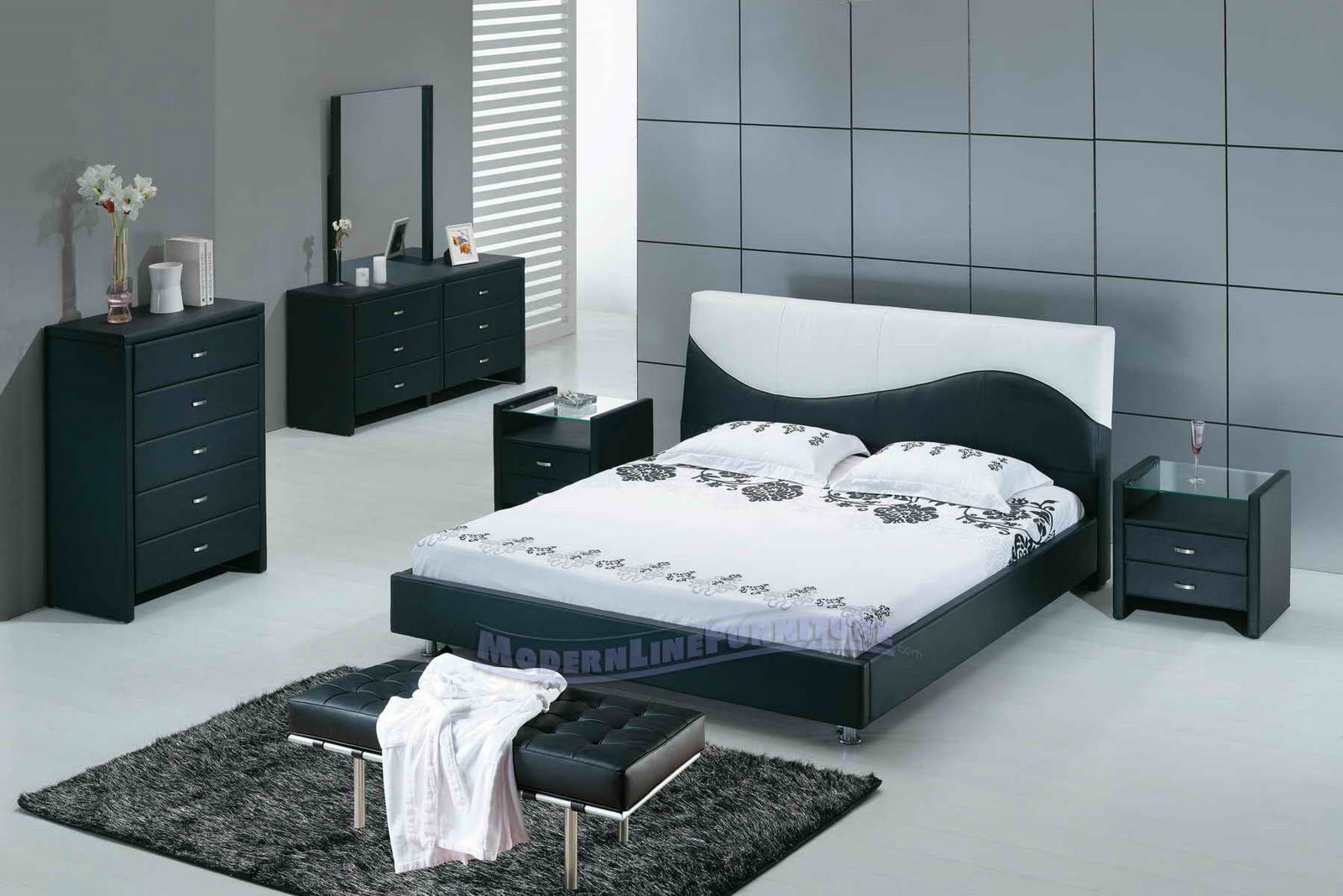 white or black bedroom furniture photo - 10