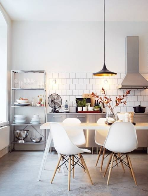 white retro kitchen chairs photo - 1